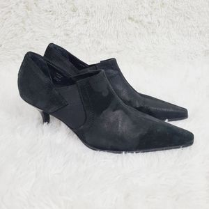Donald J. Pliner Black Waxed Leather Short Booties